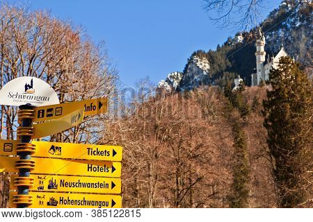 Schwangau, Germany - March 4, 2018: Tourist Information Sign At Famous Neuschwanstein Castle In The