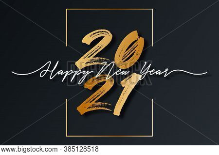 2021 New Year Script Text With Frame. Happy New Year And Merry Christmas Lettering For Holiday Card