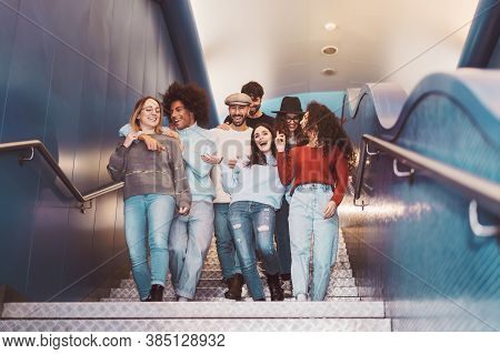 Group Young Friends Having Fun In Subway Underground Metropolitan - Happy Trendy People Sharing Time