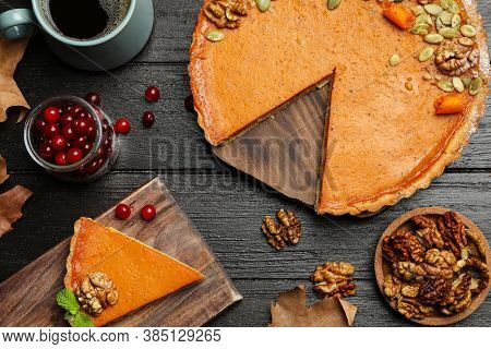 Tasty Fresh Homemade Pumpkin Pie On Wooden Table, Flat Lay