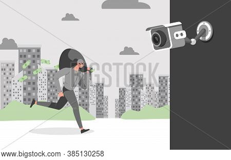 Security City Camera Filming Thief Running Away With The Loot. Face Recognition System Shoots Video