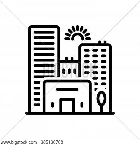 Black Line Icon For City Town State Building Skyscraper Apartment Architecture Construction Urban Ci