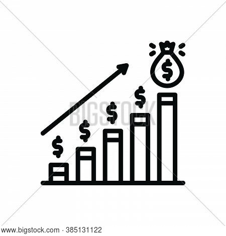 Black Line Icon For Profit Analytics Banking Economy Financial Moneybag Market Progress Increase Inf