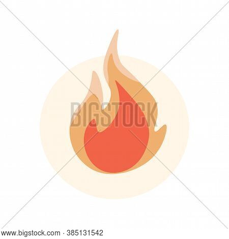 Fire Flame Vector Flat Illustration Isolated On White Background. Fire Flame Orange Icon. Burning Fl