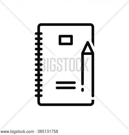 Black Line Icon For Writing Script Handwriting Document Paper Pencil Composing Paperwork