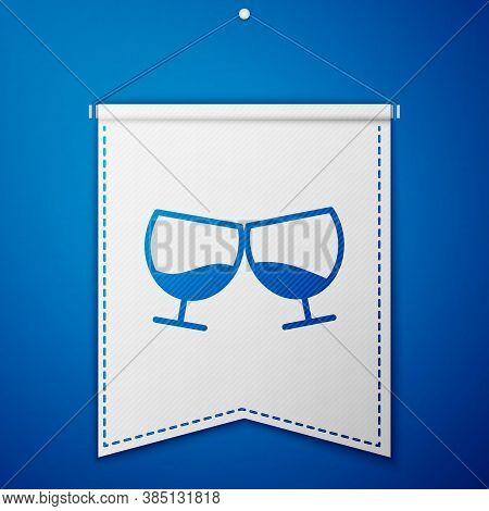 Blue Glass Of Cognac Or Brandy Icon Isolated On Blue Background. White Pennant Template. Vector Illu