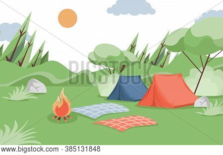 Summer Camping Vector Flat Illustration. Camping Tents, Blankets, And Bonfire In The Glade In Forest