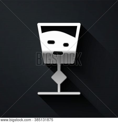 Silver Wine Glass Icon Isolated On Black Background. Wineglass Sign. Long Shadow Style. Vector Illus