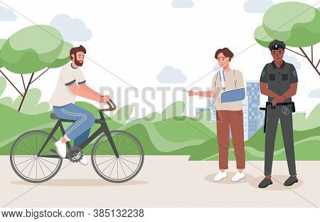 Young Man With A Broken Arm Points The Policeman At The Criminal Man Vector Flat Illustration. The M