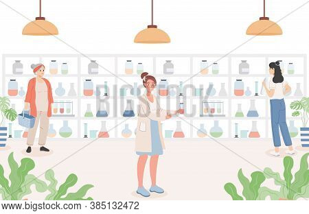 People In The Pharmacy Vector Flat Illustration. Drugstore Interior With Customers. Women Standing N
