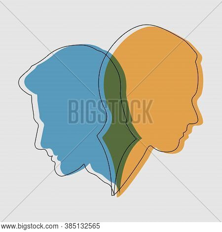 Concept Of Split Personality. Two Contours And Silhouettes Of A Male And Female Face. Stock Illustra