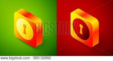 Isometric Keyhole Icon Isolated On Green And Red Background. Key Of Success Solution. Keyhole Expres