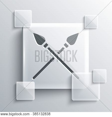 Grey Crossed Medieval Spears Icon Isolated On Grey Background. Medieval Weapon. Square Glass Panels.