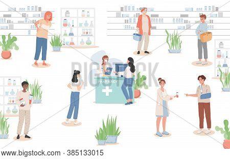 Men And Women Buying Drugs In The Drugstore Vector Flat Illustration. Sick People Choosing Drugs, Ph