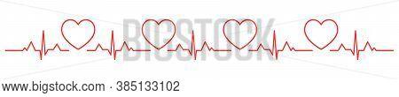 Heartbeat Heart Shape Centered Line. Heart Beat. Heartbeat Pulse Flat Vector Icon.