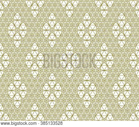 Japanese Seamless Kumiko Pattern In Golden Silhouette With Average Thickness Lines.