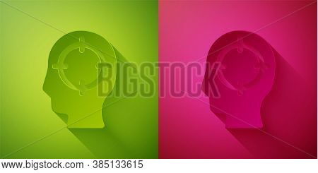 Paper Cut Head Hunting Icon Isolated On Green And Pink Background. Business Target Or Employment Sig