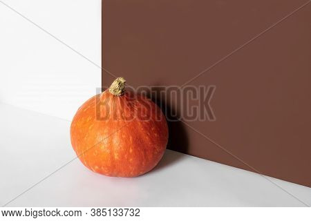 Orange Pumpkin In Front Of Brown And White Background With Copy Space. Autumn Harvest. Halloween, Th