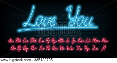 Glowing Neon Handwritten Script Font. English Neon Alphabet With Uppercase And Lowercase Bright Lett