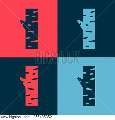 Pop Art Birch Tree Icon Isolated On Color Background. Vector