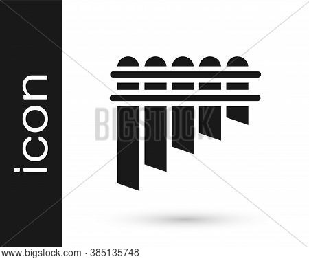 Black Pan Flute Icon Isolated On White Background. Traditional Peruvian Musical Instrument. Zampona.