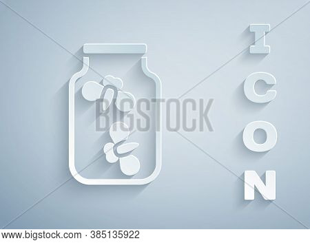 Paper Cut Fireflies Bugs In A Jar Icon Isolated On Grey Background. Paper Art Style. Vector