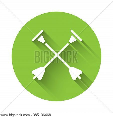 White Arrow With Sucker Tip Icon Isolated With Long Shadow. Green Circle Button. Vector