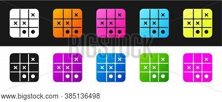 Set Tic Tac Toe Game Icon Isolated On Black And White Background. Vector