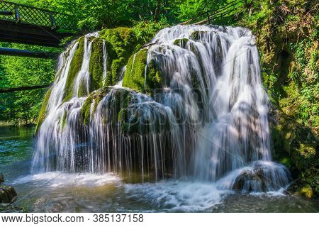 Waterfall Bigar, Caras Severin, Romania. Located At The Intersection With The Parallel 45 Romania In
