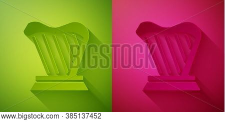 Paper Cut Harp Icon Isolated On Green And Pink Background. Classical Music Instrument, Orhestra Stri