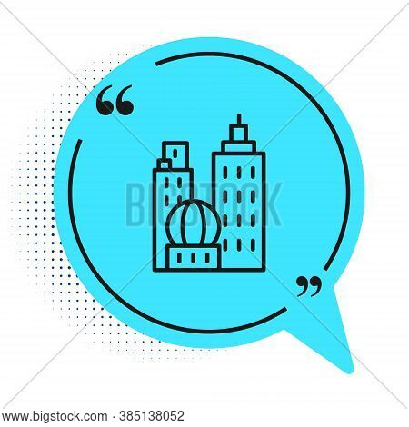 Black Line City Landscape Icon Isolated On White Background. Metropolis Architecture Panoramic Lands