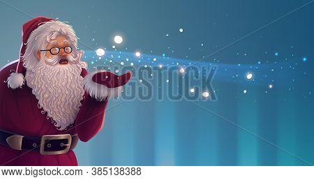 Christmas Cartoon Santa Claus Character With Bright Magic Snowflakes In Vector. Holiday New Year Ill