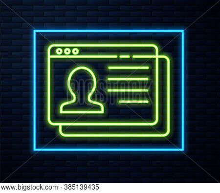 Glowing Neon Line Resume Icon Isolated On Brick Wall Background. Cv Application. Searching Professio
