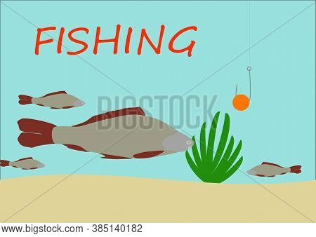 Fishing Hook With Bait Template For Text.