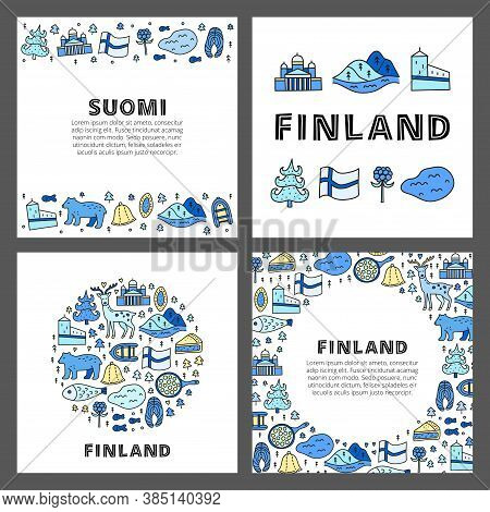 Set Of Cards With Lettering And Doodle Colored Finland Icons Including Helsinki Cathedral, Deer, Lak