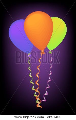 Neon Color Balloons With Ribbons