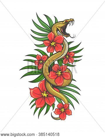 Crawling Snake With Flowers And Grass Leaves. Hand Drawn Illustration In Tattoo Style. Vector Illust