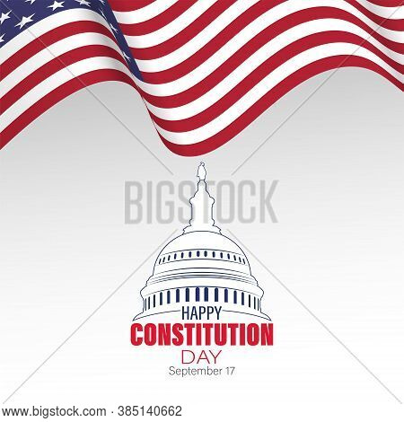Vector Illustration Of United States Constitution Day. 17 September. Isolated Vector For Greeting Ca