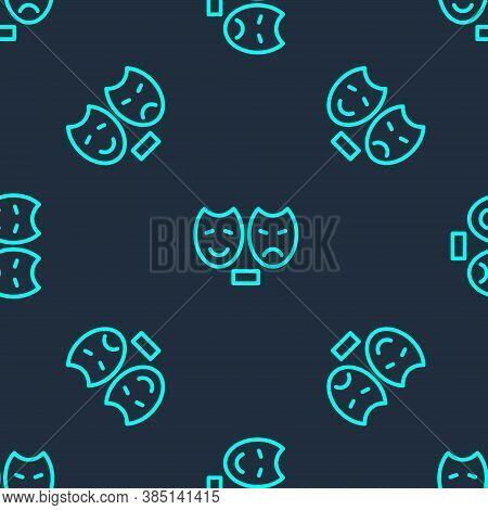 Green Line Comedy And Tragedy Theatrical Masks Icon Isolated Seamless Pattern On Blue Background. Ve