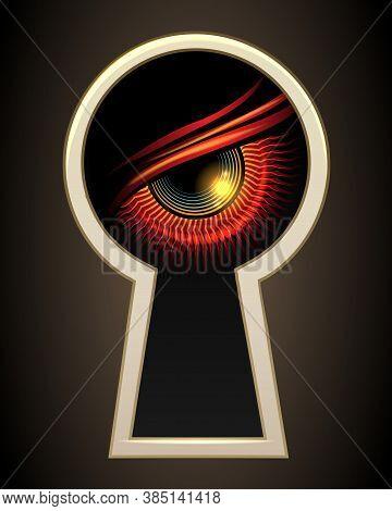 Evil Demonic Eye Looking Through A Door Keyhole. Vector Illustration.