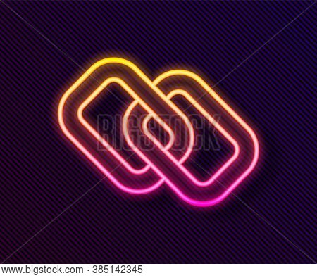 Glowing Neon Line Chain Link Icon Isolated On Black Background. Link Single. Hyperlink Chain Symbol.