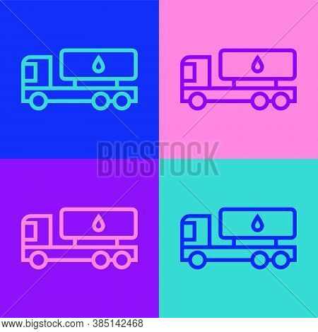 Pop Art Line Tanker Truck Icon Isolated On Color Background. Petroleum Tanker, Petrol Truck, Cistern