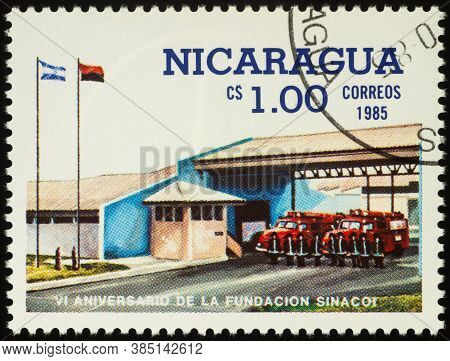 Moscow, Russia - September 13, 2020: Stamp Printed In Nicaragua Shows Fire Brigade At Fire-station,