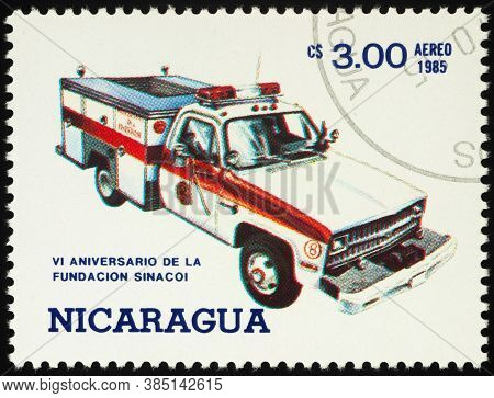 Moscow, Russia - September 13, 2020: Stamp Printed In Nicaragua Shows Ambulance Truck, Circa 1985