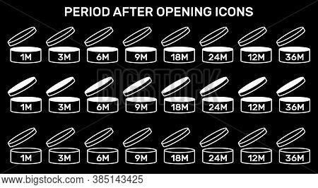 Period After Open Icons Set. Pao Symbols. Round Box With Cap Opened. Expiration Period In Months Sig