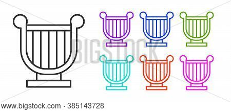 Black Line Ancient Greek Lyre Icon Isolated On White Background. Classical Music Instrument, Orhestr