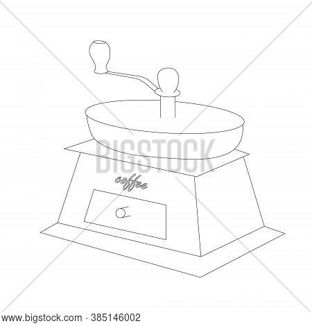 Hand-held Coffee Grinder Sketch. Art Design Element Monochrome Stock Vector Illustration For Product