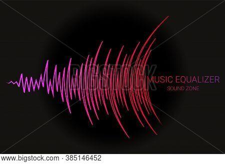 Music Wave Logo. Color Pulse Audio Player Dynamic Banner. Vector Digital Media Waveform Technology I