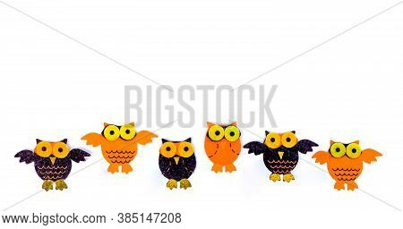 Children's Hand-crafted Application. Stuffed Felt Owl Isolated On White Background With Empty Space