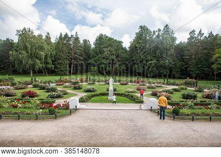 Palanga, Lithuania - July 11, 2020: Backyard Of Tiskeviciai Palace Surrounded By The Palanga Botanic